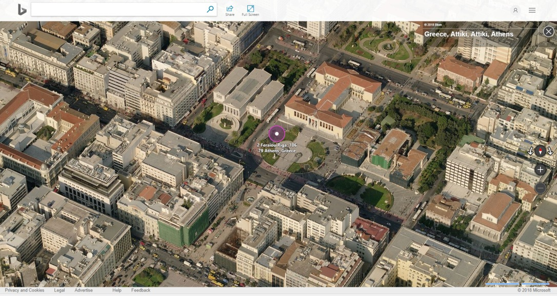 bird eye view bing maps-Athens