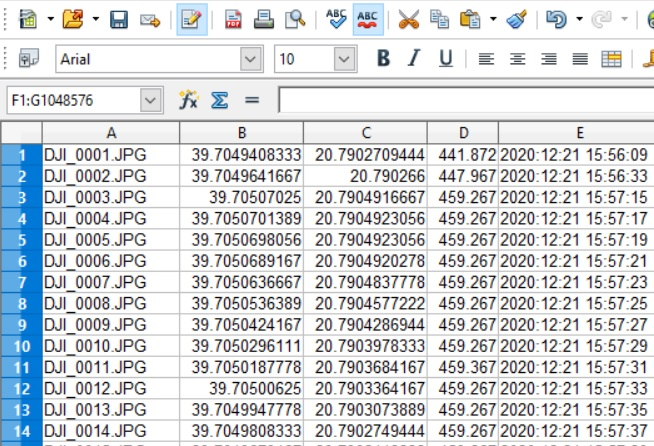 How to extract GPS coordinates from exif in subfolders